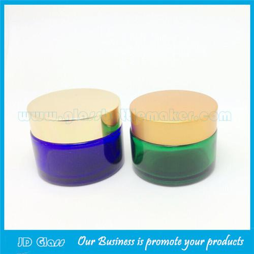 20g,30g,50g green and blue glass cosmetic jar with lid
