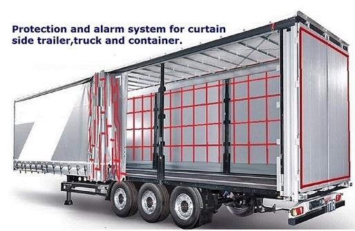 Curtain sided trailer protection and alarm system