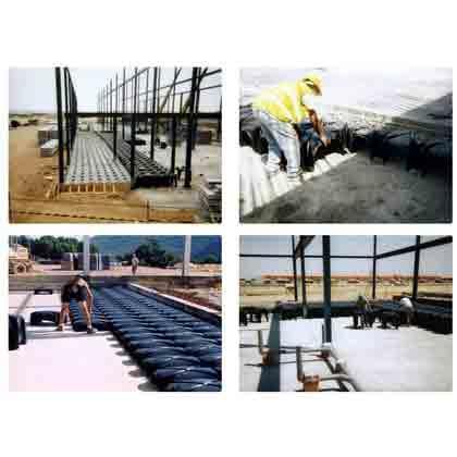 Recrecido con sistema CAVITI  en zona deportiva. Se puede utilizar para hacer varios niveles sobre una superficie plana. Por ejemplo para gradas o zonas elevadas en plazas publicas.