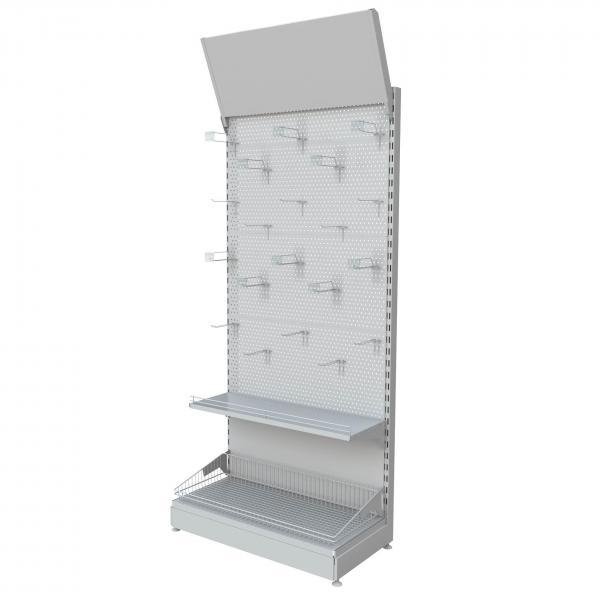 The main peculiarity of the stand is perforation presence on the back panels. Perforation holes placed in the stated order allow hanging the hooks and holders for different goods. Mostly this type o