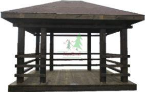 Gazebo BB01-01 Solid timber. Has a simple structure and a complex solid roof. The roof rests on eight pillars size 160x160 interconnected perpendicular timbers smaller size.