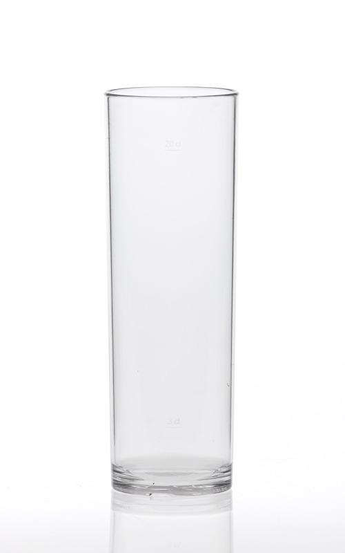 Vaso en policarbonato alimentar irrompible reciclable y reutilizable.  Transparente como si fuera en vidrio.  Perfecto para zumos, bebidas espirituosas, cerveza o refrescos.