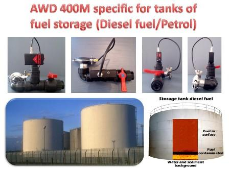 AWD 400M by Draiwat System is an innovative  electronic device patented in accordance with norm European ATEX able to immediately detect water which accumulate on  tanks of storage fuels