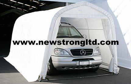 L16.7'xW8.8'xH7.5' steel frame, zipper door, Covered by 200gsm PE(polythene) fabric, UV treated, fire retardant and 100% waterproof.  300gsm PE cover is optional.  structure is very strong