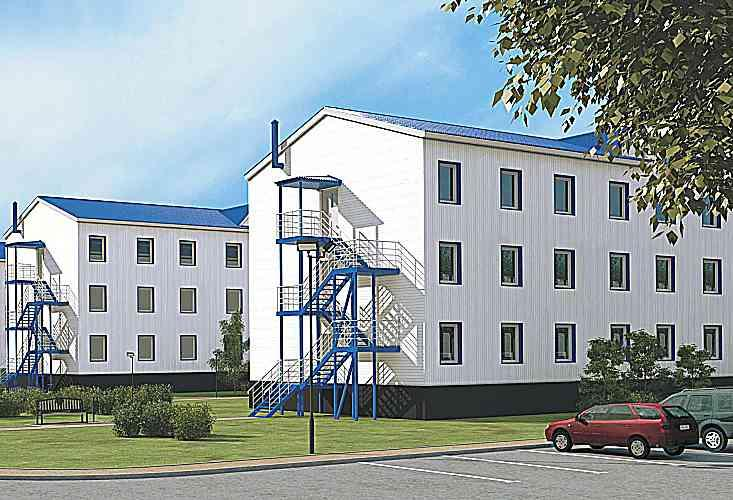 On the basis of block modules GEOBOX is possible to construct prefabricated modular buildings up to 3 floors.