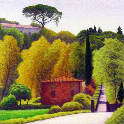 Original Painting (oil on canvas). Street from Florence to Siena in Italy.