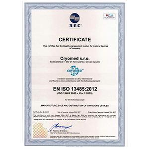 Certificate EN ISO 13485:2012