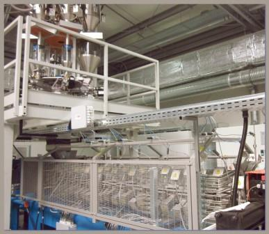 "Extrusion Line for making flexible, ecologic, Expanded, non cross linked, low-density Polyethylene and Polypropylene film with ""Direct Gasing"" process."