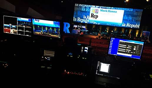 Regia pentacamere con Sony PDW-700 su mixer video For-a durante il 40° anniversario del quotidiano Repubblica.