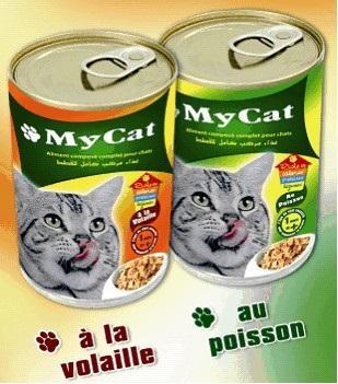 Aliment Humide en conserve pour Chat : - My CAT au poisson ou à la volaille en boite de 400 gr : 0.65 Euro / la boite - Colisage en carton de 8 boites : 5.2 Euro / carton - Prix FOB port Tunisie.