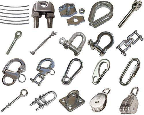 Dawn Marine offers variety rigging hardware includes wire ropes, clips, thimbles, turnbuckles, shackles, swivels, snap shackles, snap hooks, quick links, eye bolts, u bolts, pad eyes, pulley blocks.