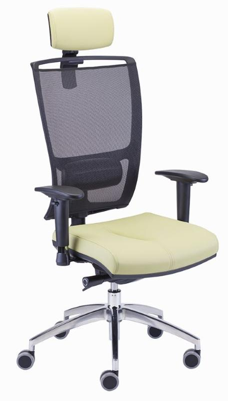 swivel; synchro mechanism with integrated seat slider (ST); tension adjustment;  lumbar support adjustment; base – polished aluminium; headrest (Z); backrest – mesh.