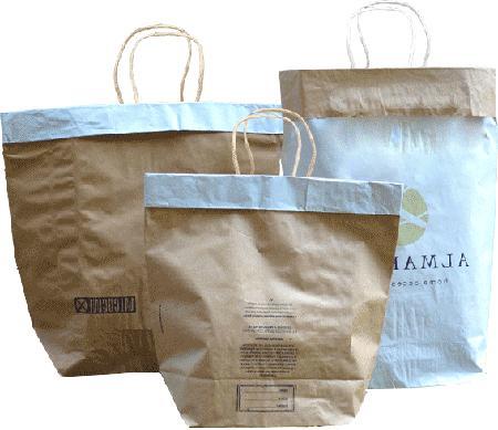 Shopper ricavate da sacchi industriali in carta a doppio strato, disponibili in tantissime versioni: http://giftboxitalia.com/ewExternalFiles/shopper_cemento.pdf
