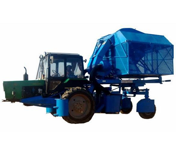 Two-row vertical spindle bar cotton-picker which is used for picking of middle length fiber cotton planted in rows with row spacing of 90 cm.The harvester is used along with tractor Belarus-80X.