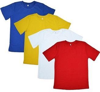 футболки трикотажные, состав 100% хб, размеры от 98 до 164. Цвета: белый, синий, красный, желтый, салатовый. Цена от 120 до 160 р