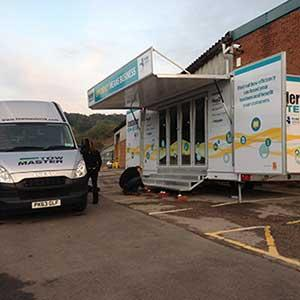 The 5.5 metre Oregon trailer, out on tour in the UK for the Installer ON-SITE roadshow.