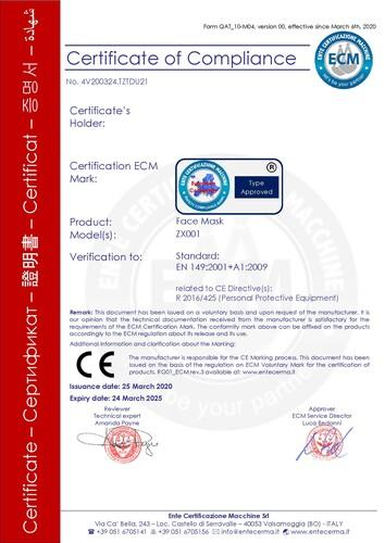 Atemschutzmasken CE Zertifikat