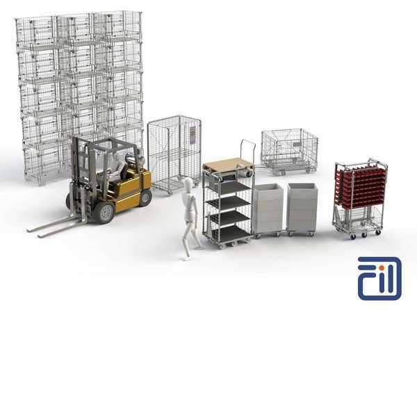 Gamme de rolls, containers, embases, chariots, paniers pour l'Industrie et la Logistique