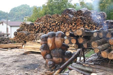 funghi porcini in legno, arredo da giardino. sulla sfondo, legna da ardere.