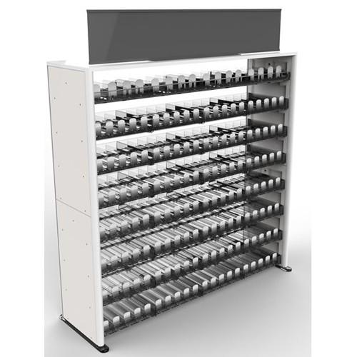 Modular, free-standing cigarette display.Durable double-wall molded plastic cabinet.Clear, molded plastic pushers and dividers.Plastic laminated wood top.