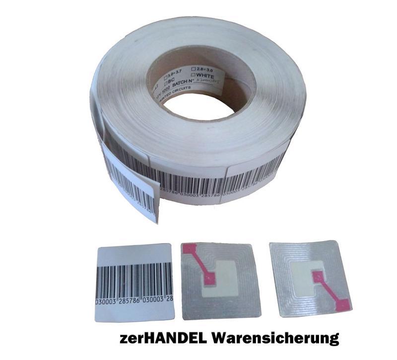 Klebeetiketten für alle RF (8,2 MHz) Anlagen, in verschiedenen Größen 3x4, 4x4, 5x5, 1 Rolle =1000 Stk.