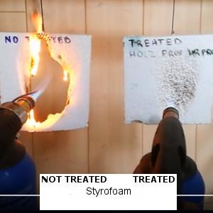 One piece of foam is treated with HOLZ Prof fire retardant, the other one is not.