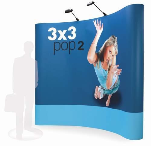 Stand parapluie magnétique POP2 dès 769€ pour la taille M (modèle 3x3), impression/finition incluse.