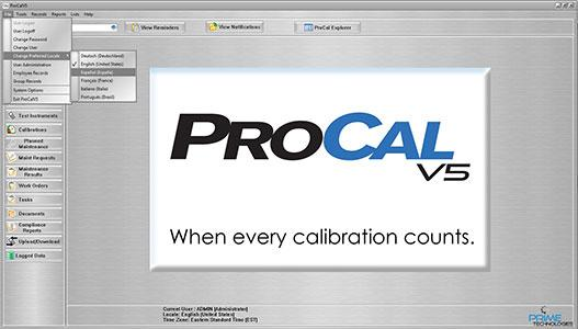 ProCalV5 can now support six languages. User defaults can be set at system, company (account) or individual user level. Changing to another language is via a simple drop-down selection.