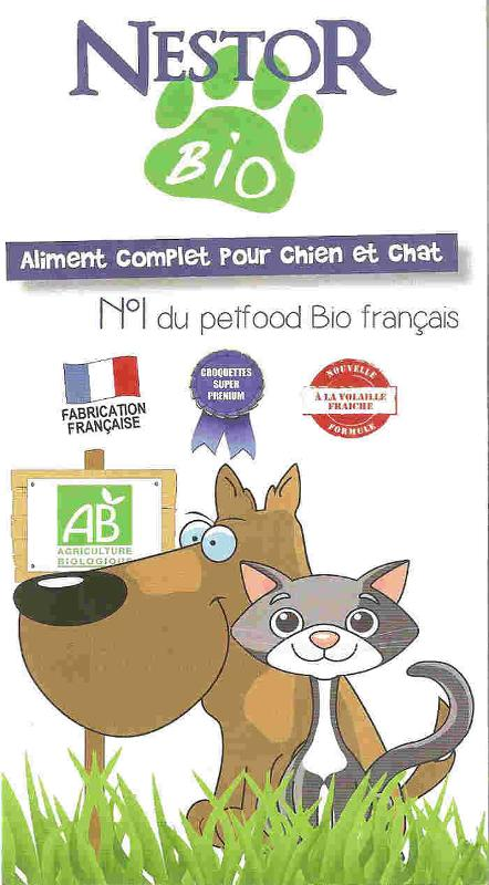 NESTOR BIO : numéro 1 du petfood Bio français. Aliment complet pour chien et chat de fabrication française. Contact au 01 46 02 72 23 du lundi au vendredi de 9 h à 18 h  ou par mail  via notre site.