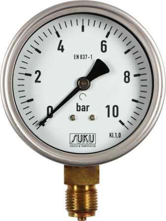 Pressure gauge, case diameter 100 mm, case in stainless steel, connection G 1/2 bottom in brass, scale in bar or others