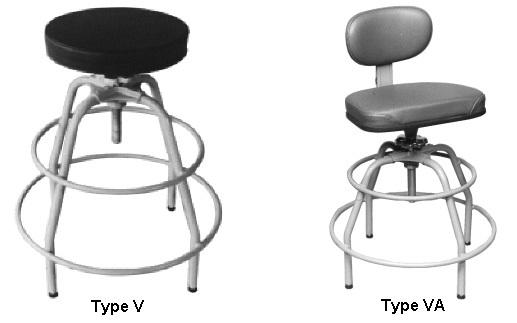 STOOL REVOLVING, Ship and Marine Equipment, A stool having a revolving seat mounted on a nonfolding base.