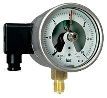 Manometer mit Kontaktfunktion. Magnetspring- , Elektronik-, Induktiv- und Pneumatikkontakte sind optional für alle Manometern erhältlich. Bis 4 Funktionen als öffner oder schließer sind möglich.