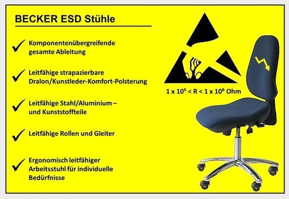 •Komponentenübergreifende gesamte Ableitung  •Ergonomisch leitfähiger Arbeitsstuhl für individuelle Bedürfnisse