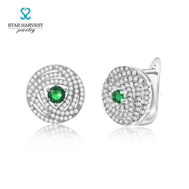 Olive Green Micro Pave Wedding Earrings