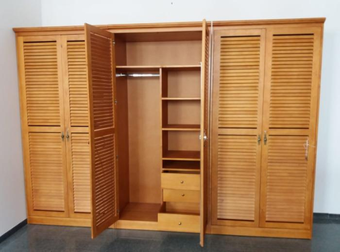 Clothes closet made of pine wood
