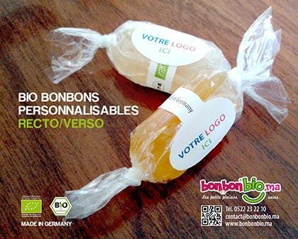 Bonbons publicitaires personnalisables, fabriqués et certifiés, bio sans gluten et/ou sans lactose, en Allemagne.