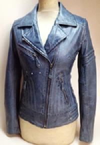Sheep Vegitable Blue Waxed Cross Zipped Jacket with show stitches and zipped pockets