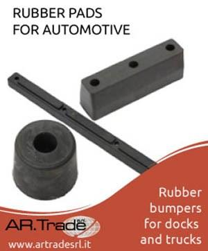 Buffers and bumperrs made of vulcanized rubber used on industrial vehicles. Ask for more informations: www.artradesrl.it