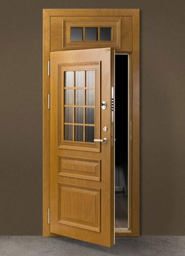 SKYDAS security entrance door in WRB finishing for a solid-looking door.