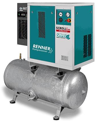 Baureihe SCROLLline Ölfreie Druckluft durch eine feststehende und eine exzentrisch rotierende Spirale. Betriebssichere und verschleißarm. Informationen: www.renner-kompressoren.de
