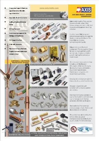 CABLE LUGS,BRASS GLANDS,EARTH RODS,CLAMPS,LIGHTNING PROTECTION, PG CLAMPS,LINE TAPS,ELECTRICAL COMPONENTS,SS CABLE TIES,DISTRIBUTION LINE HARDWARE,EXOTHERMIC WELDING,