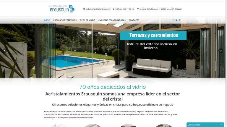 Diseño web y posicionamiento realizado para Cristalerías Erausquin Málaga.  http://www.cristaleriaserausquin.es/