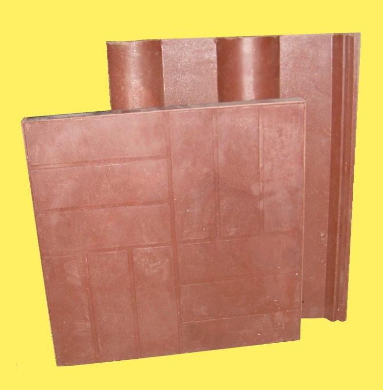 Roof material type 70% glass sand+28% binding polymer and 2% of coloring material. Mass 1m²   20 kg Full measure    305ˣ400ˣ10mm Laid measure    285ˣ345ˣ10mm Ridge full measure 215ˣ195ˣ315ˣ10mm