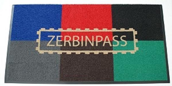 zerbino ricciolo vinilico vari colori personalizzato ad intarsio con logo zerbinpass