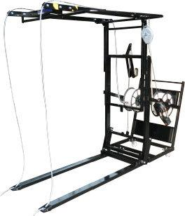 Mobile Pallet Strapping Machine with forks that raise and lower for ground and conveyor level operation. Unit is fitted with friction weld strapping tool support.See complete range on www.pscl.co.uk