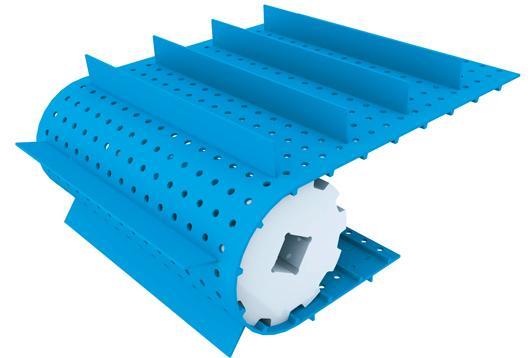 Les bandes perforées permettent de faciliter l'égouttage des produits transportés, et peuvent être utilisées pour positionner des produits sur la bande.