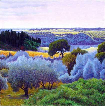 Original Painting (Oil on canvas) - ca. 39.5 x 39.5 inch - 100 x 100 cm. Mercatale near Florence