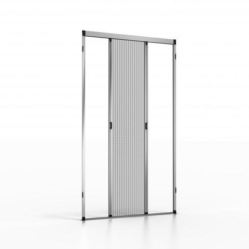 Moustiquaire plissée en aluminium PLATINUM.03 pour portes ou portes-fenêtres avec une toile plissée à glissement latéral et fermeture magnétique, Ouvrable des deux côtés et adaptée.