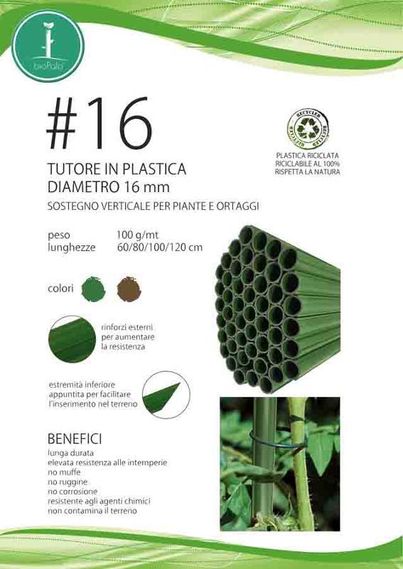 Tutore in plastica riciclata, con rinforzi esterni.