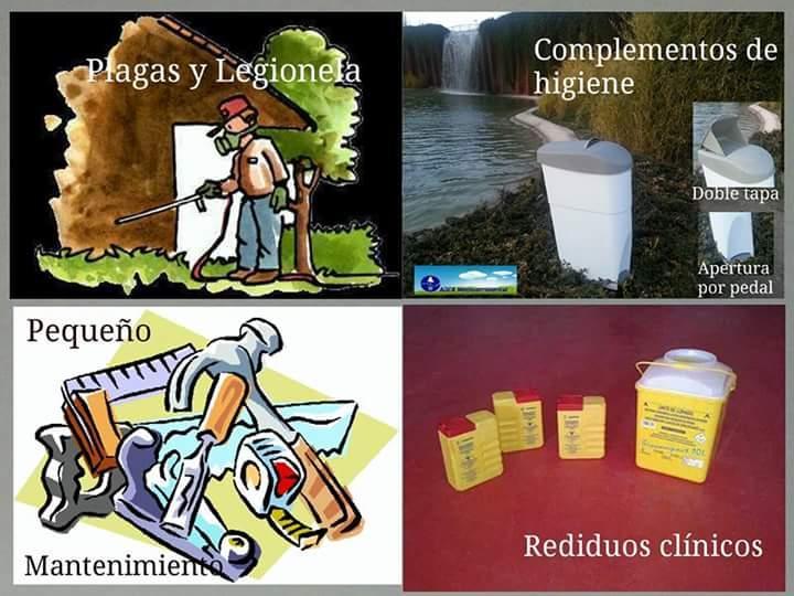 Control de plagas, residuos clinicos y complementos de higiene.